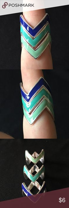 Stacking Chevron Rings So fun! Stacking chevron rings in mint, jade, and royal blue. Size 8. New without tags. Bundle and save even more! :) Jewelry Rings