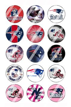 """New England Patriots Bottle Cap 1"""" Circle Images Sheet #1 (instant download or pre cut)"""