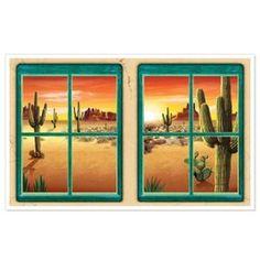 Muurposter Desert view -  Een prachtige grote decoratie om op de muur te plakken. Het idee is dat het net lijkt alsof u naar buiten kijkt. Perfect voor country en western feesten. Afmeting: 155 x 95cm. | www.feestartikelen.nl