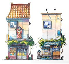 Tokyo Storefront by Mateusz Urbanowicz Building Illustration, House Illustration, Watercolor Illustration, Watercolor Paintings, Illustrations, Building Painting, Building Art, Watercolor Architecture, Environment Concept Art