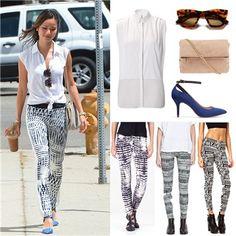 Copia el look de Jamie Chung con 'leggins' estampados -- Mujerhoy.com --