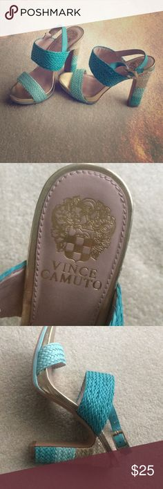 Vince Camuto Heels Vince Camuto Adrien platform sandals These are in great condition with slight wear on outsoles. They would be perfect for summer!  Color: Turquoise and Aqua Size: 6  Man made Leather lining sole Vince Camuto Shoes Platforms