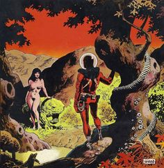 A kind of spaceman in the alien Garden of Eden by Wally Wood.
