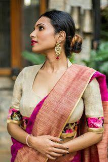 Latest neck blouse back neck designs and blouse sleeves design - buy lehenga choli online Blouse Back Neck Designs, Silk Saree Blouse Designs, Saree Blouse Patterns, Fancy Blouse Designs, Sari Bluse, Indiana, Stylish Blouse Design, Lehenga Choli, Kalamkari Saree