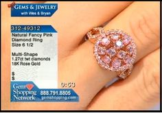 Natural pink diamond ring - unusual and hard to find 1.27cts in pink diamonds set in a round pink gold design.