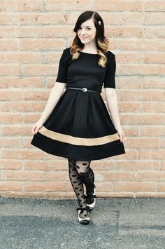 Emily of Yesterday's Sweetheart looking sweet as could be in polka dot tights and the Bow Heel in White.