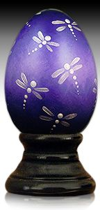 Dragonflies' Waltz - hand painted wooden egg by The Egg Man Alan Traynor