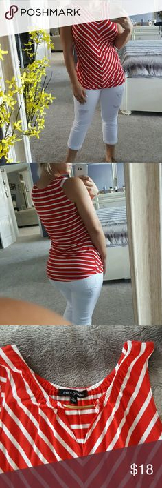 💋Classy 4 of july red and white shirt💋 Brand new Women's size medium red and white striped tank top. 96% viscose 4% spandex. Great material very comfortable. :) Tops Tank Tops