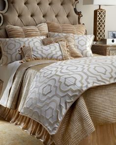 Queen Channel-Quilted Gold Coverlet by Sivaana at Neiman Marcus.