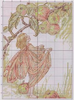 Cross stitch - fairies: Crab apple fairy - Cicely Mary Barker (chart)