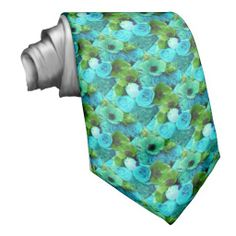 Unique, men's tie features a repeating pattern of aqua, seafoam, turquoise, teal, and green, peonies, roses, English garden roses, and French anemones. This custom tie is perfect for weddings, engagement parties, proms, and more where the event color palette (or your date's dress) incorporates aqua, turquoise blues, and/or greens. Order multiples for all the groomsmen, fathers of the bride & groom, and ushers in your wedding party. #aqua #blue #green #tie