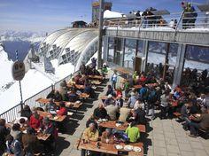 The Coolest Beer Gardens Around the World : Condé Nast Traveler - Zugspitze Beer Garden; Garmisch-Partenkirchen, Bavaria, Germany