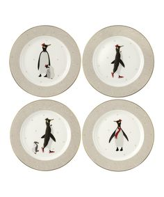 Portmeirion This Piccadilly 4 Piece Bone China Dessert Plate Set from Sara Miller London Portmeirion features 4 different designs embellished with sparkling gold. Presented in gift packaging, this set is perfect for a festive afternoon tea. Christmas Dinnerware, Christmas Plates, Merry Christmas, White Christmas, Xmas, Teller Set, Penguin Cakes, Cake Plates, Dessert Plates