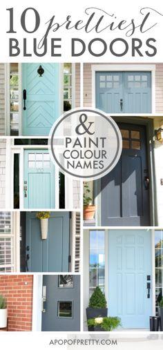Door Color Ideas: 10 Pretty Blue Doors – A Pop of Pretty Canadian Home… Teal Front Doors, Best Front Door Colors, Front Door Paint Colors, Painted Front Doors, Front Door Design, Blue Doors, Paint Colours, Paint For Front Door, Aqua Door