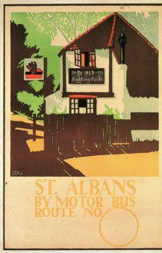 Modern postcard of St Albans Fighting Cocks 1920 poster E McKnight Kauffer LTM | eBay Vintage Travel Posters, Vintage Ads, British Holidays, Art Psychology, St Albans, Travel Themes, Illustrations And Posters, Pretty Pictures, Illustration Art
