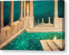 Canvas Print, pool,swimming,building,interior,pillars,straircase,steps,still,calm,shallow,water,illumination,candlelight,medieval,architectural,old,night,moonlight,fullmoon,sky,chaos,emptiness,atmospheric,mystic,mystical,mystery,magical,fantasy,dreamy,fascinating,inviting,weird,surreal,blue,turquoise,teal,shades,in,on,at,of,to,the,nowhere,fine,art,oil,painting,artworks ,products,items,for sale,online,fine art america