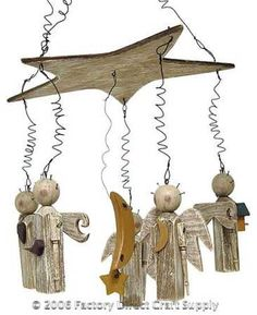 Primitive Weathered Rustic Wood Star and Angel Mobile