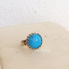 Turquoise Ring Adjustable Gold Blue Gemstone Ring Exotic Victorian LOTR Lord of the Rings Statement Ring Bohemian Sister BFF Gift Christmas