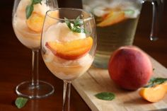 "Peach Sangria Sorbet ~~~ (Pssst! No ice cream machine? Me either. Here's my own quick/easy ""fix"" — Beat the heat! Skip this recipe & instead add 1 generous scoop of store-bought sherbet to 1 glass of white wine or ANY fruit sangria. Yum! So nice on a hot summer day! ~ℛ)"