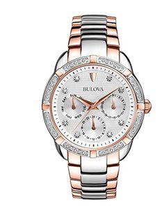 Bulova 98R177 - Reloj analógico de cuarzo para mujeres, correa de acero inoxidable chapado en oro rosa, color plateado y dorado