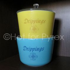 Vintage Pyrex Drippings Containers - I would love to find these to add to my collection!