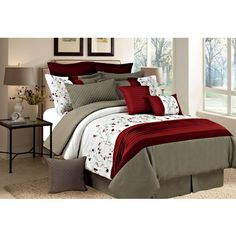 Create the perfect blend of style and elegance in any bedroom with the Tori Embroidered Comforter Set. Tufted and embroidered floral detailing create subtle dimensions and texture. The perfect amount of decorative throw pillows is highlighte Linen Bedroom, Bedroom Decor, Master Bedroom, Bedroom Red, Bedroom Ideas, King Pillows, Throw Pillows, Affordable Bedding, Queen Comforter Sets