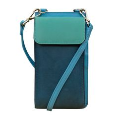 multicolor serenity blues leather smartphone organizer crossbody wallet . . . Crossbody organizer with adjustable and removable crossbody strap and RFID blocking lining. Exterior- phone compartment with magnetic snap flap closure and back zip pocket. Interior- Back tab closure opens to hold 10 credit card slots, slide pockets, currency compartment, and ID window. Museum Outlets Unique Gifts For Him, Crossbody Wallet, Small Handbags, Outlets, Small Bags, Leather Backpack, Soft Leather, Bag Accessories, Blues