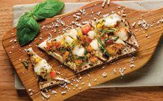 Tomato, Mozzarella and Basil flatbread - The White Apron Catering