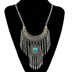 Bohemian Vintage Natural Green Stone Moon Necklaces & Pendants Large Long Tassel Flower Jewelry Necklace Bijoux Femme For Women Girls Jewelry, Boho Jewelry, Beaded Jewelry, Women Jewelry, Flower Jewelry, Jewelry Design, Jewellery, Bleu Turquoise, Turquoise Jewelry