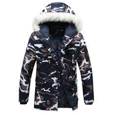 Купить товарЗимняя куртка мужчины Сгущает Любителей ватные куртки Камуфляж большой меховой…