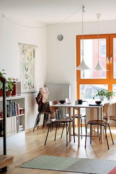 stackable chairs + orange trim