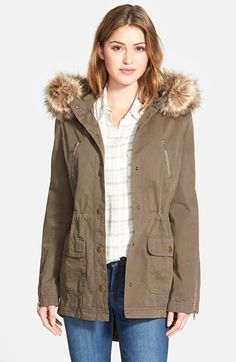 Caslon® Hooded Utility Coat with Removable Faux Fur Trim available at #Nordstrom