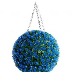 Blue Rose Artificial Topiary Hanging Flower Ball - The Artificial Flowers Company - Modern Design Artificial Hedges, Artificial Topiary, Artificial Flower Arrangements, Artificial Plants, Faux Flowers, Silk Flowers, Topiary Plants, Flower Ball, Packing Light
