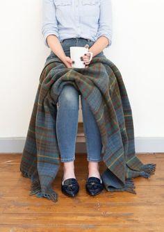 Heritage Wool Knee Blanket in Stewart Hunting Antique Tartan