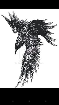 Possible tattoo idea of a Norse raven hugin/munin ravens of odin