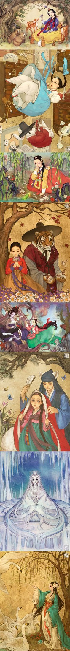 Korean illustrator, Na Young Wu (also known as @00obsidian00 on Twitter), gives Western fairy tales a whimsical Eastern makeover ~ Snow White, Alice in Wonderland, Princess and the Frog, Beauty and the Beast, Little Mermaid, Little Red Riding Hood, Frozen, and Swan Princess.