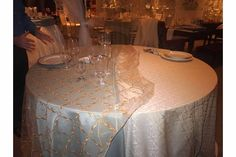 Linen Choices: French Blue Bengaline with Overlay OR Blue Ellis Scroll Damask