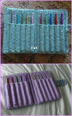 Crochet Hook Holder Case Free Pattern with Video Tutorial