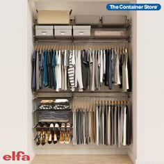 Our exclusive Elfa Classic 5' Graphite Reach-In Closet maximizes every inch of closet space. Includes drawers, shelves, closet rods, shoe racks, and everything you need to maximize your space. Get it as-is or contact us today for a free custom design! Elfa Closet, Closet Rod, Elfa Shelving, Storage Shelves, Door Shelves, Door Storage, Reach In Closet, Closet Space, Graphite