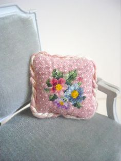 miniature stitched cushion for dollhouse