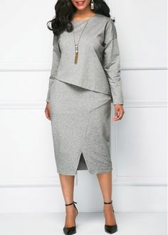 Slit dress: blended fabric Dresses For Women Online Shop Free . Trendy Dresses, Women's Fashion Dresses, Dress Outfits, Sexy Dresses, Dresses For Apple Shape, Classy Dress, Online Shopping Clothes, African Fashion, Plus Size Fashion