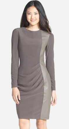 Pretty Faux Leather Panel Ponte Sheath Dress http://rstyle.me/n/tv522bh9c7