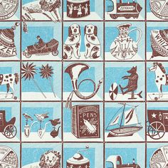 Curiosity Shop - screen printed fabric by Emily Sutton - Dark Blue/Mustard Textile Patterns, Print Patterns, Museum Of Childhood, Curiosity Shop, Printed Curtains, Weird And Wonderful, Antique Shops, Printing On Fabric, Textile Printing