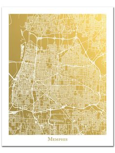 Memphis Map, Gold Foil Map of Memphis Tennessee, Memphis City Map, Map Art, Memphis Map Wall Art, Memphis Print Gold Wall Decor