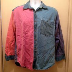 Blue Purple Green Orange Pink Bonjour Size Medium Western-Style Buttoned Shirt #Bonjour #ButtonDownShirt #Casual