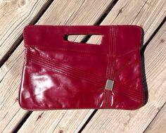 Vintage Burgundy Vinyl Clutch with Grab Handle  70s  by IslaDot, $15.00