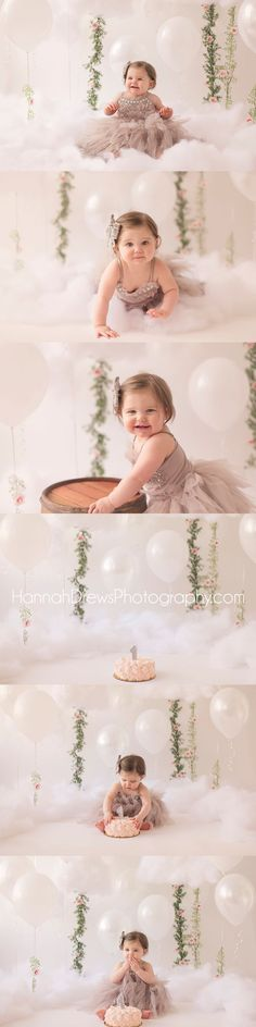 cloud tutu du monde cake smash chicago baby photographer #cakesmash #diybackdrop…