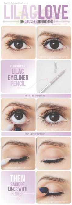 Lilac Love Liner - brighten eyes using a lilac eyeliner. The purple corrects any yellow undertones on the lid. Hearing a lot about this little trick lately, great alternative to white eyeliner! All Things Beauty, Beauty Make Up, Diy Beauty, Beauty Hacks, Beauty Tips, Beauty Stuff, Kiss Makeup, Eye Makeup, Hair Makeup