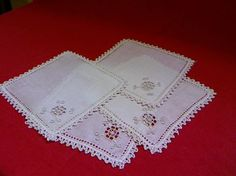 Antique Linen Handmade Cocktail Napkins Set of Four by fiordalis, $40.00