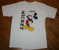 Mickey Mouse Hawaii Disney T-Shirt Men's Large Velva Sheen white vintage #VelvaSheen #GraphicTee